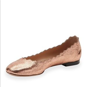 Chloe Scalloped Metallic Leather Ballet Flat